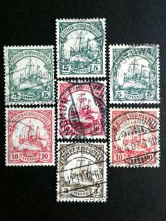 1910 German-ships vintage stamps#2