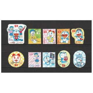 JAPAN 2016 DORAEMON GREETING 52 YEN COMP. SET OF 10 STAMPS IN FINE USED CONDITION