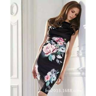 Floral Bodycon Dress Black Casual