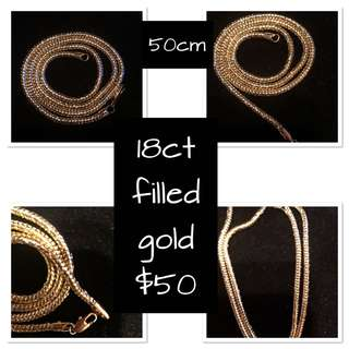 18ct filled gold snake chain