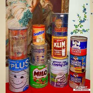 Vintage Milk Product Tins, Ovaltine, Milo, Klim, Quaker Oats & etc...from $25 onwards.  Detail below. All 12pcs for $198 offer. sms 96337309.