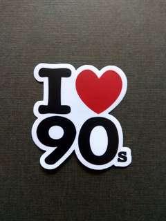 I Love 90s Sticker Laptop Luggage Skateboard