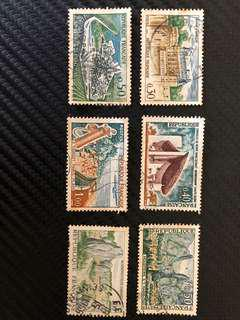 Vintage Collection Lot of 6 stamps from Republique Francaise