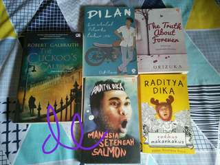 [preloved] novel the cuckoos's calling, dilan, the truth about forever, manusia setengah salmon, radikus makan kakus