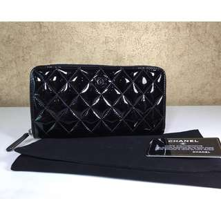 CHANEL PATENT LEATHER ZIP AROUND WALLET