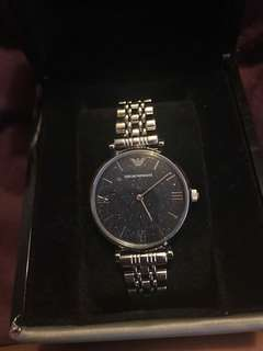 Emporio Armani Silver-Tone Analogue Watch w/ Midnight Blue Sparkle Face