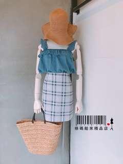 粉紅色格子窄裙