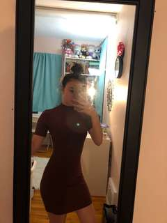 Ribbed Maroon Dress // Size S