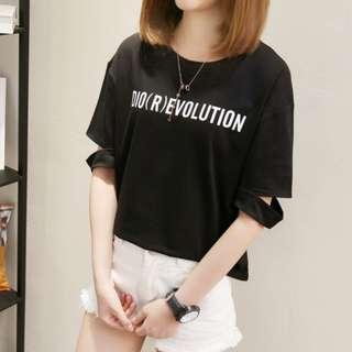 P12916 韓版字母開叉袖上衣