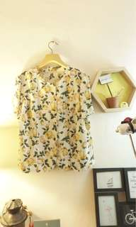 Floral Loose Round Neck Button up top