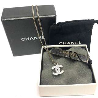Authentic Chanel Classic CC Silver Rhinestone Necklace