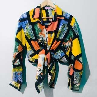 Abstract Printed Long Sleeve Blouse