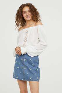 H&M Blouse with Wide Neckline