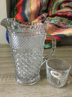 Vintage Glass pitcher w/ crystal glass