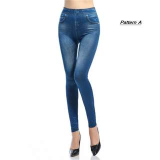 Free Delivery @ RM18 ONLY!! Women Highwaist Printed Jeans Legging- Fits up to 60kg  [QFAE513)