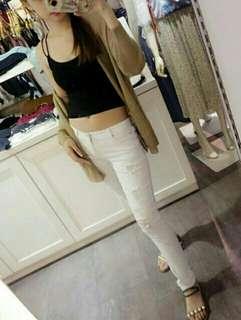 🚚 【Jolie PLUS】→顯瘦修身款←激瘦破損窄管褲