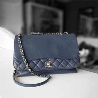 Authentic Chanel Blue Calfskin Flap Bag WSH