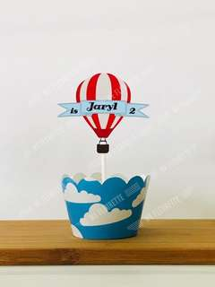 DIY Party - Customised Hot Air Balloon Theme Cupcake Topper & Sleeves