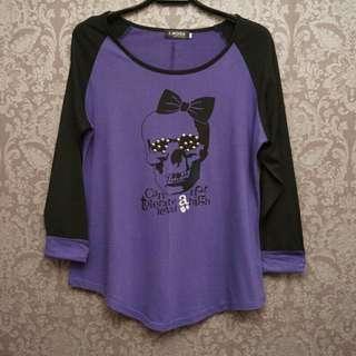 全新ORANGE BEAR/OB嚴選黑紫俏皮骷髏頭九分袖反折上衣T恤~42號