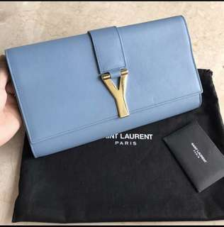Authentic YSL Clutch Sky Blue