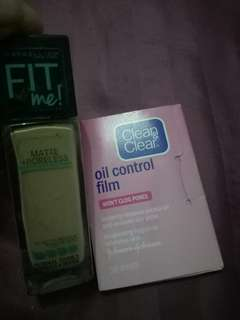 Maybelline Fit me + Clean&Clear oil control film