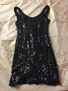 宴會黑亮片小洋裝