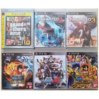 PS3 Uncharted 2 3, One Piece Kaizoku Musou 2 , GTA IV , Saint Seiya