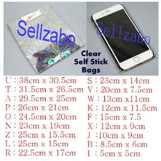 Opp Clear Bags : Self Stick Sellzabo Many Sizes Group See Through