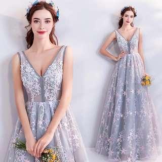 pre order grey silver star prom bridesmaid wedding bridal gown dress  RBP0775