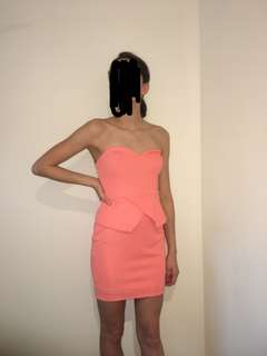 Misshop strapless pink dress