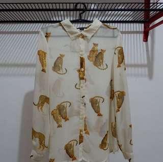 Forever 21 animal print chiffon blouse