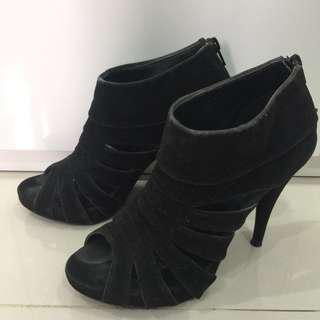 Forever 21 Black Suede Ankle Heels/Boots