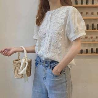 🚚 062605(F)韓國 甜美顯瘦花邊短袖襯衫