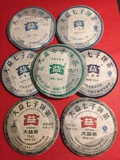 普洱茶餅套裝:大益7542(2005至2011年生茶/青餅)