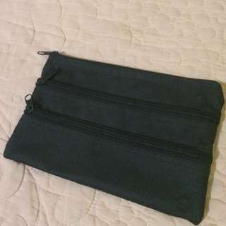 Three zipper pouch