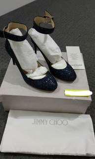 Jimmy Choo Ankle strap glitter heels shoes