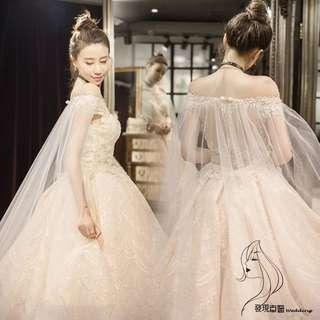 (◕‿◕)2018新款白色公主夢幻拖尾宫廷一字肩簡約婚紗