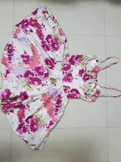 Silk Floral Bustier Corset Dress