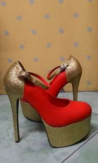 [JUAL RUGI] GOLD RED PLATFORM HIGH HEELS 15cm