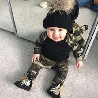 🚚 ✔️STOCK - 2pc ARMY CAMOUFLAGE LONG SLEEVES TOP & PANTS SET NEWBORN BABY TODDLER BOY KIDS CHILDREN CLOTHING