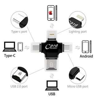 🚚 4 in 1 Card Reader Multifunction Lightning + Micro + Type-C USB Tf Card OTG Card Reader