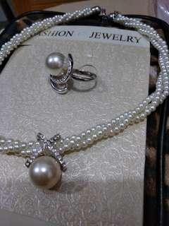 新娘結婚用品 仿珍珠鑽石頸鏈+戒指 $40