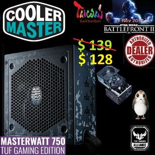 CoolerMaster 750 TUF Gaming Edition SEMI-FANLESS MasterWatt MODULAR 80 PLUS BRONZE POWER SUPPLY.