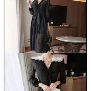正韓預購_東大門服飾_2018新款_V領辦公室女神OL過膝半透洋裝/會議/宴會服/拍照打卡專用/夏日正裝/霸氣淑女範
