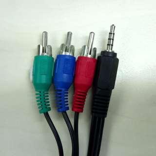 1 米 2.5mm音源(公)轉3色差線(公)藍紅綠 RCA轉接線