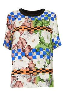 Topshop floral check print tee