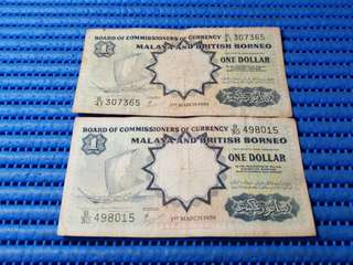 2X 1959 Board of Commissioners of Currency Malaya and British Borneo $1 One Dollar Note B/30 498015 & B/41 307365 Dollar Banknote Currency ( Lot of 2 Pieces )
