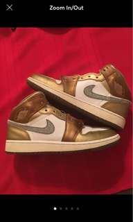 Auth air Jordan gold with silver glitter swoosh