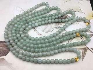 天然翡翠糯種蘋果綠大珠頸串