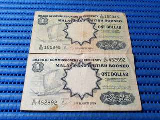 2X 1959 Board of Commissioners of Currency Malaya and British Borneo $1 One Dollar Note B/47 452892 & B/52 100945 Dollar Banknote Currency ( Lot of 2 Pieces )